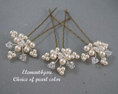 Set of 3 bridal hair pins Wedding accessories Leaves hair vines Ivory white gold silver pearls crystals headpiece Formal hair do prom