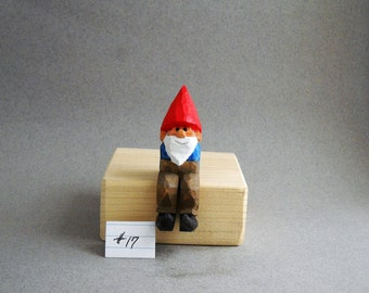 Sitting garden gnome wood carving.......17