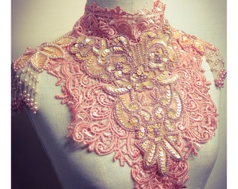 Peach lace collar with beading and applique