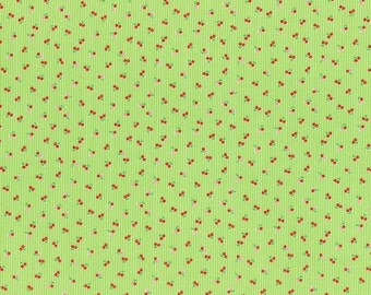 Minny Muu Lime green with red cherries Fall 2016 - Lecien Japan - quilt cotton fabric