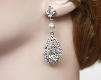 Silver Bridal Earrings, Wedding Cubic Zirconia Tear Drops, Pearl Bridal Jewelry, Rhodium Plated Crystal Wedding Earrings - Avery Earrings