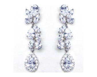 Crystal Tear Drp earrings Silver CZ Bridal dangle earrings Jewelry Rhodium plated Crystal Wedding Earrings