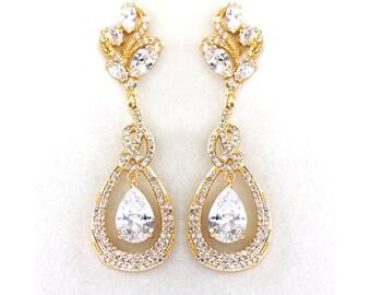 Gold Bridal earrings, Wedding jewelry Crystal Wedding earrings Bridal jewelry, Lover's knot Drop earrings - Camila
