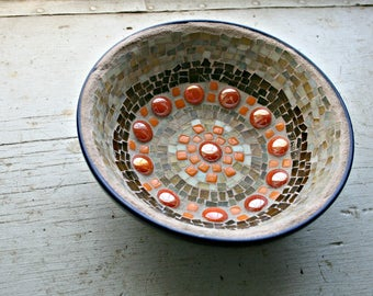 Mosaic Bowl, Stained Glass, Mosaic, Glass Tiles, Orange, Light Brown, Tan, Blue, Bowl, For The Home, Housewarming, Great Gift-7 x 2.5 Inches
