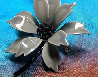 Vintage - Mod Flower Pin Brooch  -  60s 70s Enamel Flower Pin  -  Shades of Gray Brooch  -  Signed
