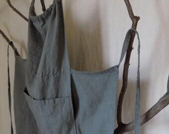 Exclusive Handmade Linen Apron / Versatile / Adjustable / Gathered Bib / Criss-Cross / Three Pockets / Kangaroo Pocket