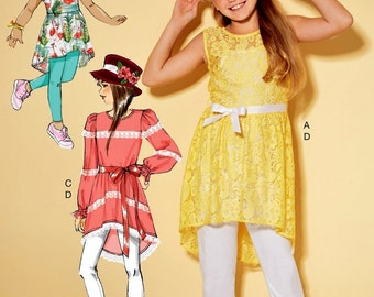 Girls' Tunic and Leggings Pattern, Little Girls' Tunic and Leggings Pattern, Tween Girls' Tunic and Leggings, McCall's Sewing Pattern 7527