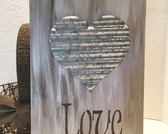 LOVE Wooden Sign with Corrugated Metal Heart