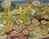 Yellow Plastic Buttons 72 Yellow Plastic Crafting Buttons Sewing Buttons