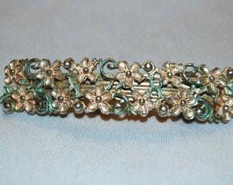 Pretty Flower Hair Clip / Silver Metal / Pink / Blue / Barrette / old jewelry /Vintage
