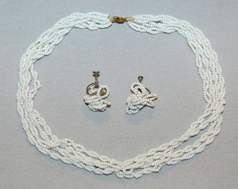 Vintage / White / Set / Milkglass / Beads / Necklace / Earrings / Screw Back / Old / Jewelry / Jewellery