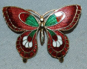 Vintage / Cloisonne / Butterfly / Enamel / Brooch / Pin / Collectible / jewelry / jewellery