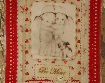 Rose Ticking Mini Quilt Collage  Valentine Cuties Be Mine