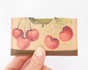 Leather Business Card Holder, Leather Card Case, Cherry Print Leather Card Case, One of A Kind