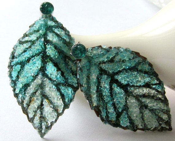 Double Sided Leaf Earrings, Leaf Ear Jackets, Stained Glass Leaves, Large Leaf Jewelry, Turquoise Druzy Studs,
