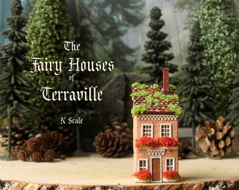 The Fairy Houses of Terraville - Enchanted Miniature Light Terra Cotta Terrarium House - Flower Boxes, Mossy Tile Roof - N Scale Home Decor