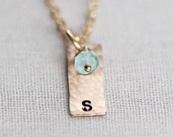 Tiny Birthstone Necklace, Vertical Initial Necklace, Gold Vertical Bar Necklace, Mothers Jewelry