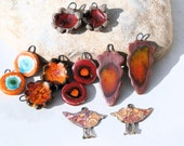 for LORALEE - handmade supply - charms for earrings or necklace -  high fired  ceramic clay pottery supply