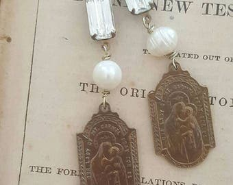 Bohemian Gypsy Antique French Religious Medals Spirituality Jewelry Dangle Earrings Upcycled Recycled
