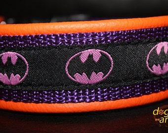 """Dog Collar """"Batgirl inspired"""" by dogs-art, girl dog collar, leather dog collar, batman, super hero collar, dog collars, collar, dog"""
