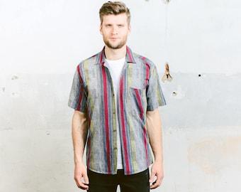 Striped Shirt . Men's Button Down Shirt Short Sleeve Summer Shirt Vintage 70s Geometric Minimalist Shirt . size Medium M