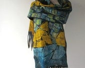 Nuno felted scarf Blue yellow Grey scarf Sky Silk Wool Cozy scarf warm felt scarf wool women scarf van gogh inspiration scarf by Galafilc