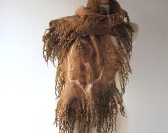 Felt Fur Curly scarf, Brown beige , Hand Felted scarf Pure Real Wool warm felted scarf  Fleece by galafilc Organic and Cruelty Free fur