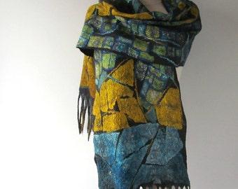 Nuno felted scarf Blue yellow Grey scarf Sky Silk Wool Cozy scarf warm felt scarf wool women scarf van gogh inspiration scarf by Galafilc
