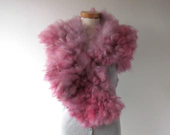 Alpaca Fur collar Curly Felted collar Pink felt collar  Alpaca wool collar  Fur scarf  Pure Wool Fleece real fur scarf