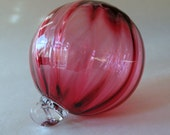 Hand Blown Glass Christmas Ornament Pink Red Raspberry Round One