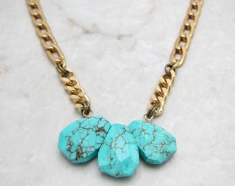 Bold Chain Necklace. Southwest Necklace. Chunky Boho Necklace. Chunky Turquoise. Bold Turquoise. Chunky Link Necklace. TaraLynEvans. ARIA