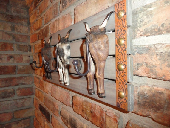 Western Decor Wall Hooks : Steers tail prong coat rack hooks texas ranch style wall
