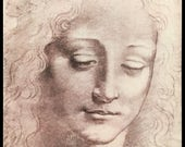 Leonardo da Vinci Framed Print, Head of Women, Young Lady,  Made in Italy, Florence, Vintage 1996