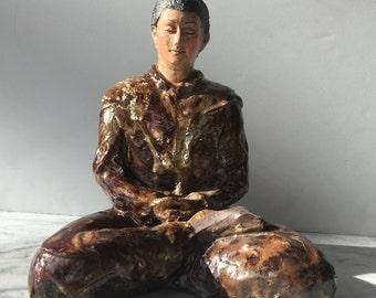 Buddha Statue, Ceramic Figure Sculpture in Meditation, Half Lotus Posture, Yoga Art