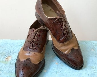 Wingtip Spectator Oxford Shoes Perforated 2 Tone Brown Tan Leather Lace Ups Funky Seasoned Look Ragtime Revival Costuming Pin Up Photo Shoot