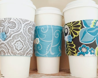 Coffee Cup Cozy, Coffee Cup Sleeve, Cup Cozy, Cup Sleeve, Reusable Coffee Sleeve - Aqua Grey [34-36]