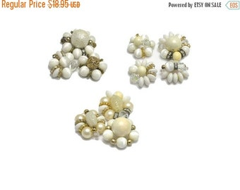 Vintage Bead Clusters White Pearl Rhinestone Filigree for Crafts Upcycle or Repurposing