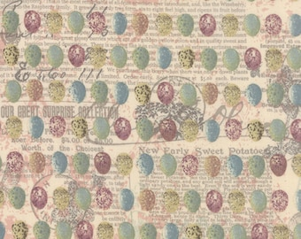 Easter Egg Moda Fabric ONCE Upon a CHICKEN cottage prairie shabby quilting sewing Mary Jane Butters collage eggs purple teal 11663-11