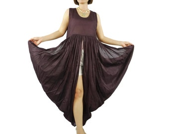 Butterfly -  Boho Chic Funky Deep Plum Light Cotton Lawn Side Drape Long Tanktop Tunic