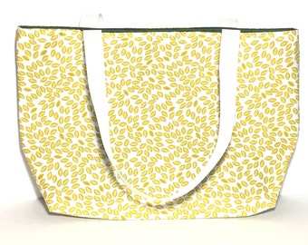 Tote Bag, Organic Fabric Bag, Yellow Tote, Leaf, Under 20 dollars, Teachers Bag, Teacher Gift, Gift, Mothers Day