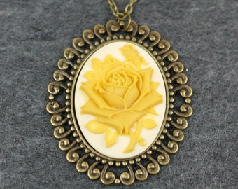 Yellow Rose Cameo Necklace