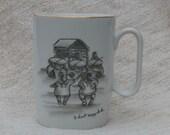 Vintage Mug, Inuit Dancers and Drummers by Cabin, Robert Mayokok Design, Alaska Theme