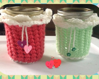 Mason Jar Cozy, Mason Jar Sleeve, Crochet Cozy, Jar Cozies, Jar Cover