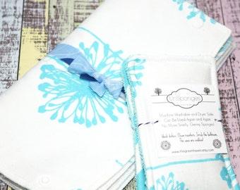 Unpaper Towels | Snapping Reusable Paper Towels | Cloth Paper Towels | Starter Set 3 Towels and 2 Un Sponges Dandelion | Ready To Ship