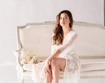 Bridal Robe, Bridal Robe, Lace Robe, Bridal Lace Robes, Lace Bridal Robe, Boudoir Robe, Getting Ready Robe, Wedding Robe, Clementine