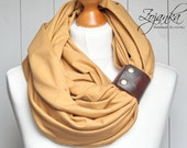 Infinity Scarf with leather cuff, COTTON Loop with leather cuff, infinity scarf, honey yellow scarf, fashion scarf, scarf with strap