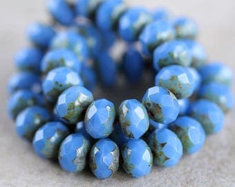 Milky Cornflower Picasso Czech glass rondelle beads, Fire polished faceted donut beads, 6X8mm glass rondelles, glass donut beads (20pcs) NEW