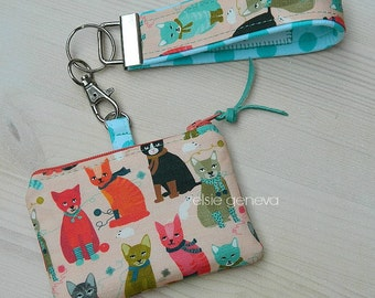 Cats Treat or Coin Purse - Blue Tooth Case with Wristlet - Pink & Aqua Floral  - Key Fob - Key Chain