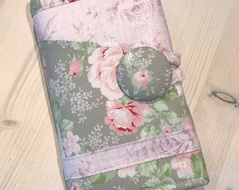 Knitting Case Gray & Pink Spill Proof Vintage Antique Roses Floral Knitpicks Interchangeable Circular Needle Organizer Ready to Ship