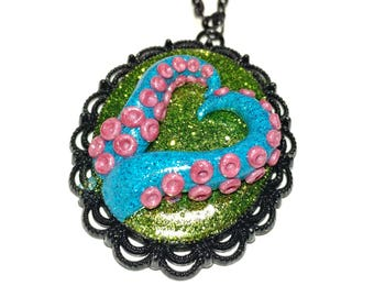 Tentacle cameo necklace. Octopus necklace. green, pink, blue. Gifts for her. heart necklace